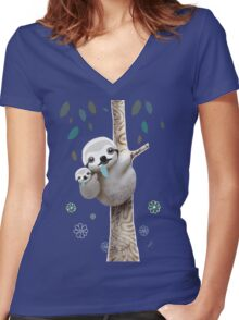 Baby Sloth Daylight Women's Fitted V-Neck T-Shirt