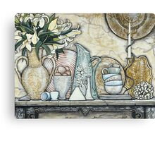 Lilies with Brown & White Ming Canvas Print