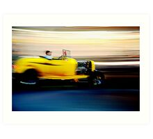 Yellow Rod at Night Art Print
