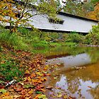 Portland Mills Covered Bridge in Autumn by Kenneth Keifer