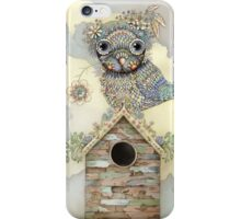Blue Owl Birdhouse I iPhone Case/Skin