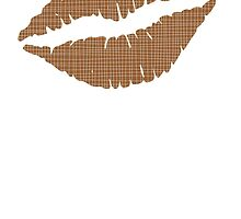 Brown Crosshatch Lips by kwg2200