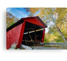 Red Covered Bridge and Giant Sycamore Metal Print