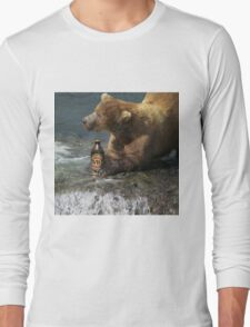 Bear catching beer in a river Long Sleeve T-Shirt