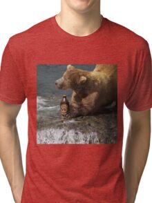 Bear catching beer in a river Tri-blend T-Shirt