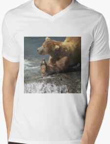 Bear catching beer in a river Mens V-Neck T-Shirt