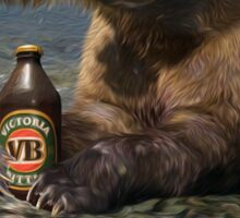Bear catching beer in a river Sticker