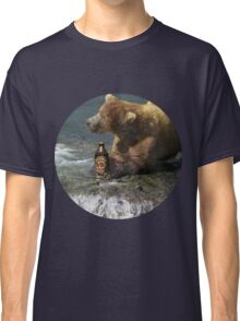 Bear catching beer in a river (Round) Classic T-Shirt
