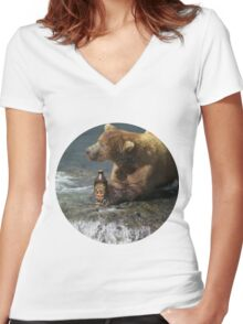 Bear catching beer in a river (Round) Women's Fitted V-Neck T-Shirt