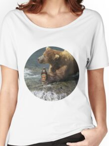 Bear catching beer in a river (Round) Women's Relaxed Fit T-Shirt