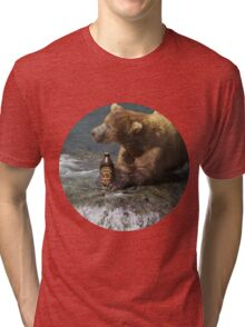 Bear catching beer in a river (Round) Tri-blend T-Shirt