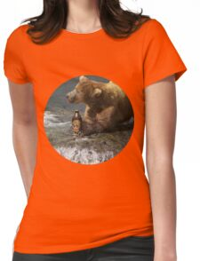 Bear catching beer in a river (Round) Womens Fitted T-Shirt