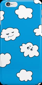 Blue Sky Happy Cartoon Clouds  by Boriana Giormova