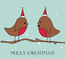 Merry Christmas! Chatting Robins by CozyStudio