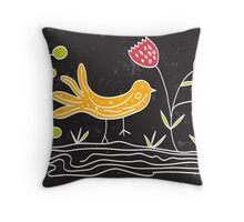 doodle bird and plants Throw Pillow