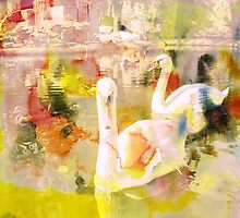 Swans Lake. Digital Watercolor Painting. by Vitta