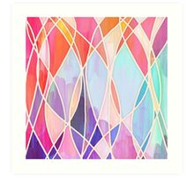 Purple & Peach Love - abstract painting in rainbow pastels Art Print
