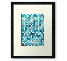 Blue Ink - Watercolor hexagon pattern Framed Print