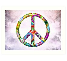 Cool Retro Flowers Peace Sign - T-Shirt and Stickers Art Print