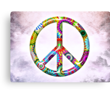 Cool Retro Flowers Peace Sign - T-Shirt and Stickers Canvas Print