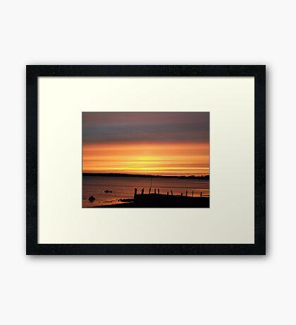 Orange Sunset over a Pier Framed Print
