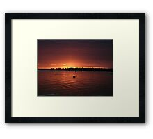 Red Sunset over the Bay Framed Print