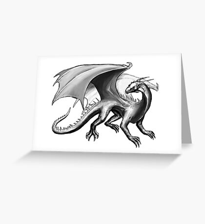 Black and White Dragon Greeting Card