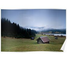 Hut on alpine meadow Poster