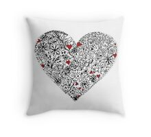 Zentangle Inspired Heart Hand Drawn Ink On Bristol Board. Throw Pillow