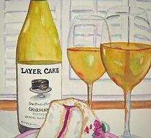 Layer cake wine and cake by Loretta Barra