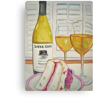 Layer cake wine and cake Canvas Print