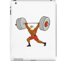 Bald Eagle Weightlifter Lifting Barbell Cartoon iPad Case/Skin