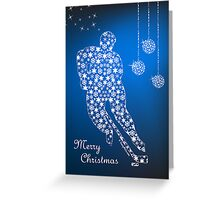 Hockey Christmas Card - Blue Snowflakes Greeting Card