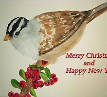 Bird on Holly Berries by Loretta Barra