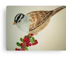 Bird on Holly Berries Canvas Print