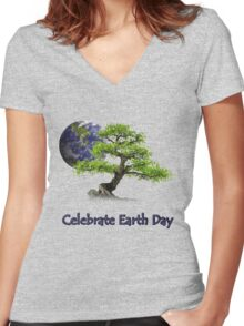 Celebrate Earth Day Women's Fitted V-Neck T-Shirt