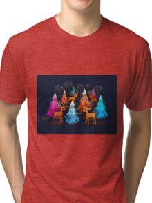 Happy Christmas Trees Tri-blend T-Shirt