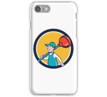 Plumber Carrying Plunger Walking Circle Cartoon iPhone Case/Skin