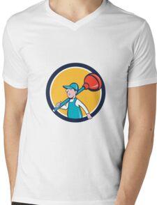 Plumber Carrying Plunger Walking Circle Cartoon Mens V-Neck T-Shirt