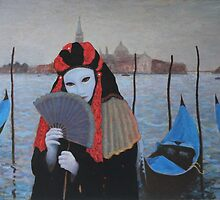 Mask and Fan Carnival Venice by Howard Sparks