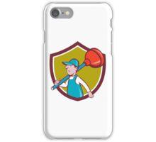 Plumber Carrying Plunger Walking Shield Cartoon iPhone Case/Skin