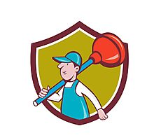 Plumber Carrying Plunger Walking Shield Cartoon Photographic Print