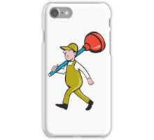 Plumber Carrying Plunger Walking Isolated Cartoon iPhone Case/Skin