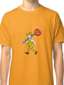 Plumber Carrying Plunger Walking Isolated Cartoon Classic T-Shirt