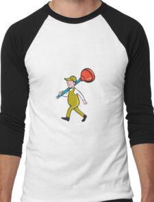 Plumber Carrying Plunger Walking Isolated Cartoon Men's Baseball ¾ T-Shirt