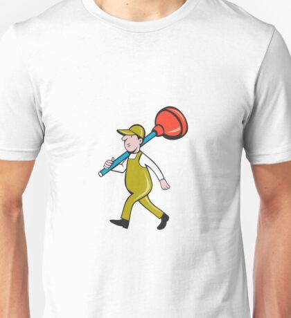 Plumber Carrying Plunger Walking Isolated Cartoon Unisex T-Shirt