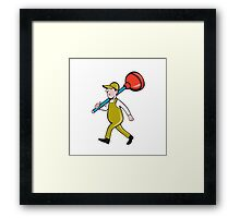 Plumber Carrying Plunger Walking Isolated Cartoon Framed Print