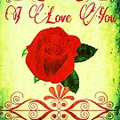 Red Rose I Love You Card by Charldia