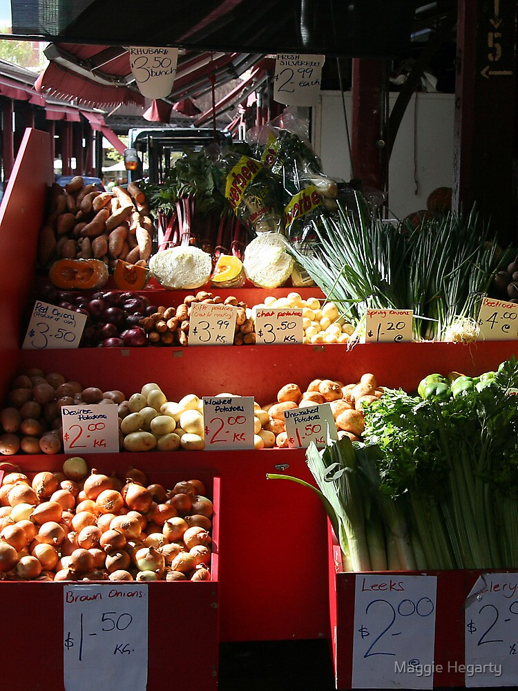Vegetable stall by Maggie Hegarty