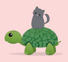 Kitty Riding a Turtle Kids Tee